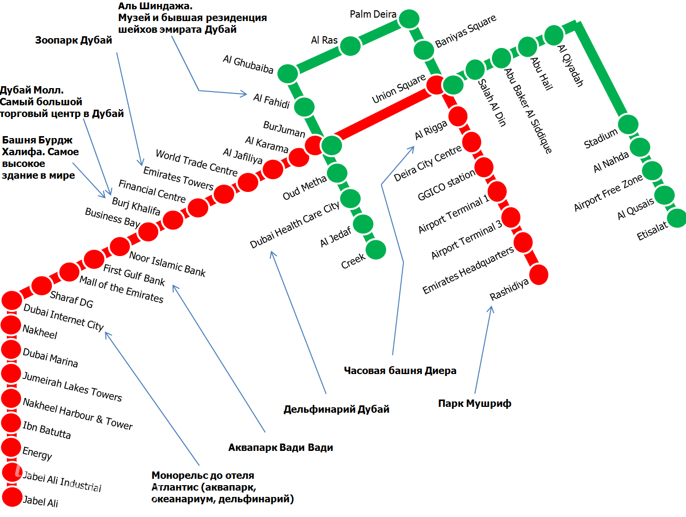 Карта метро Дубая