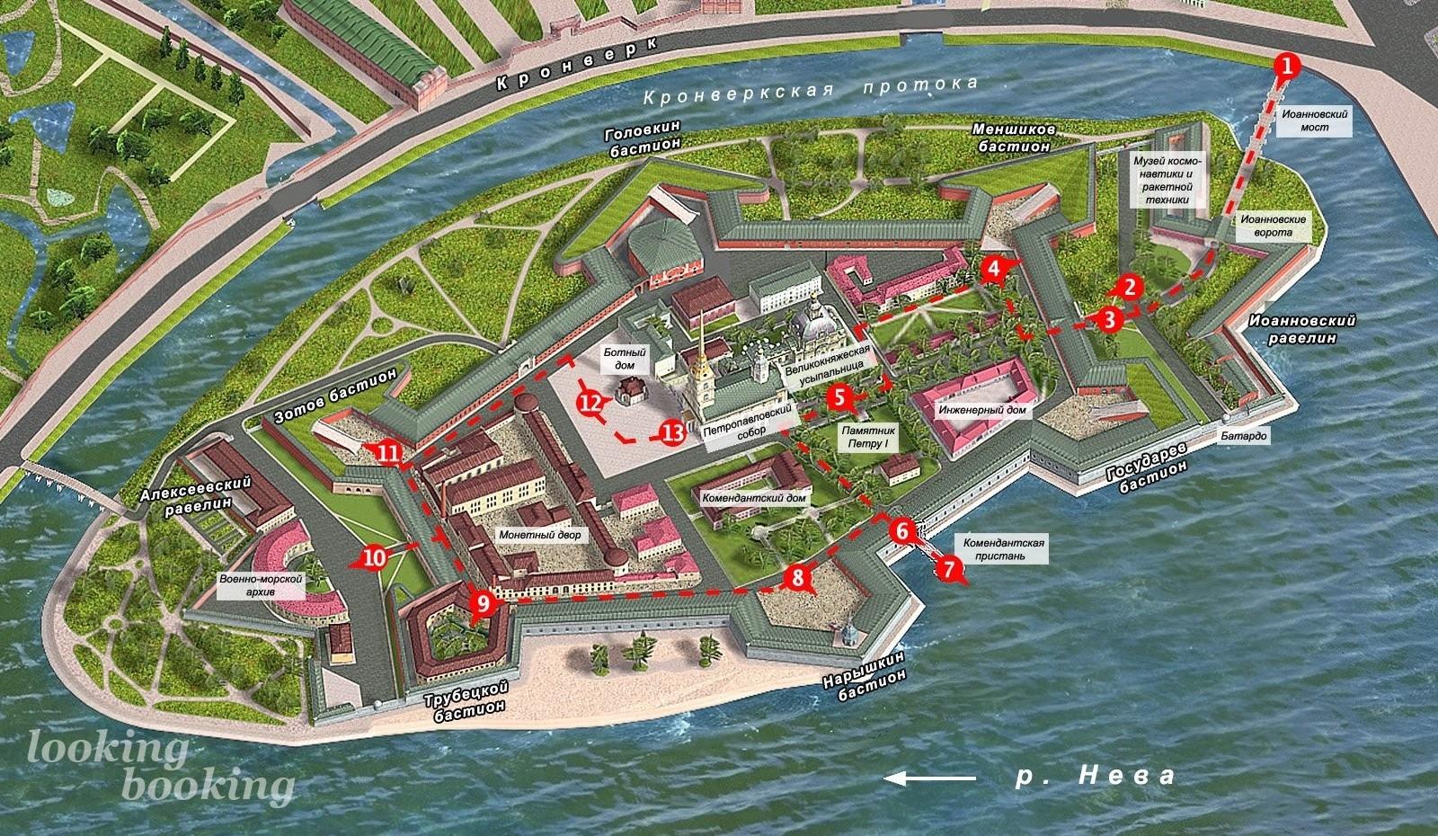 Петропавловская крепость  карта